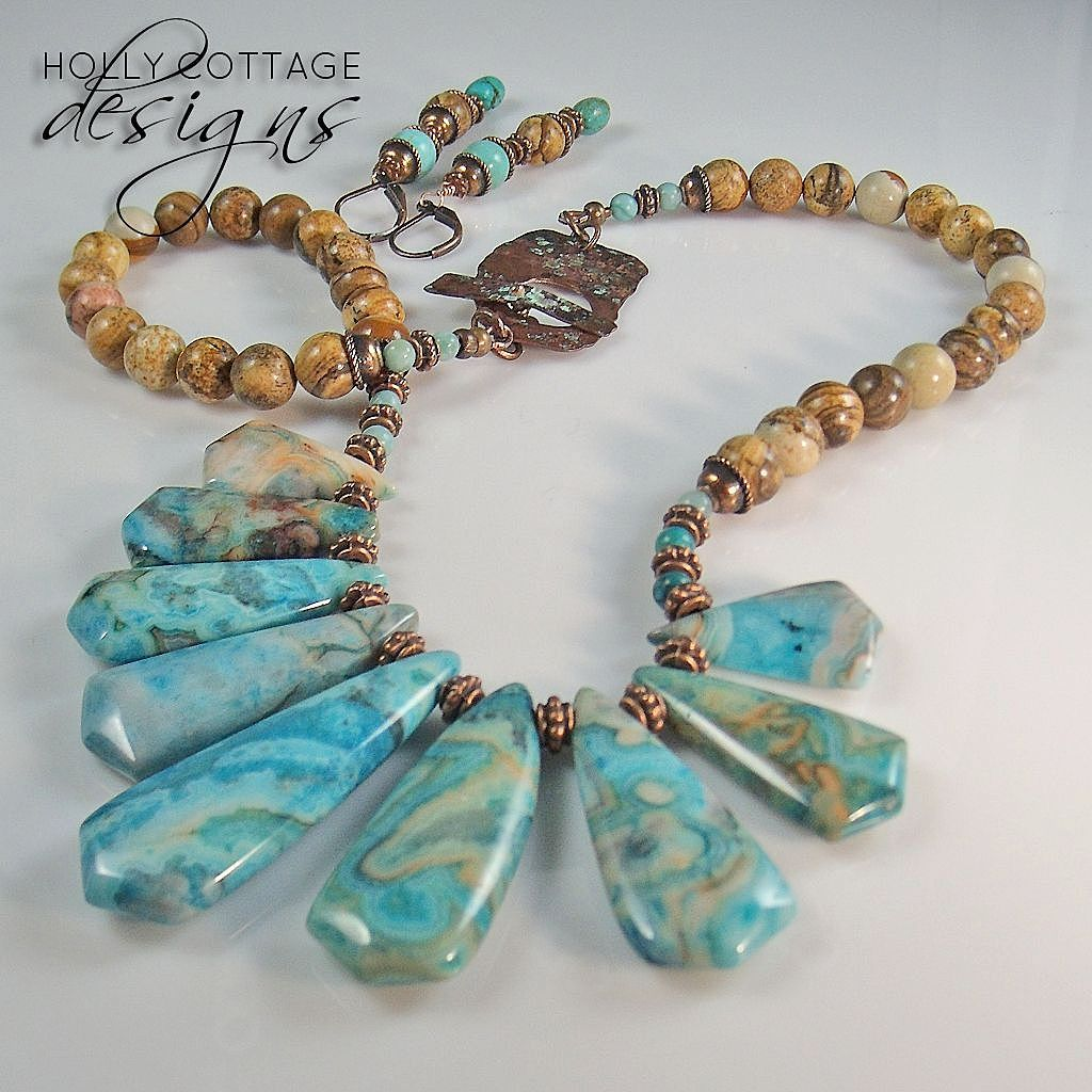 Artisan crafted jasper, agate and copper necklace with earrings