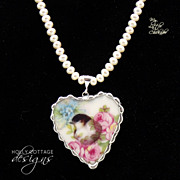 Artisan crafted broken china pendant on cultured pearls
