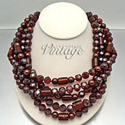 Vintage root beer lucite 5-strand necklace