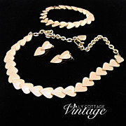 Vintage heart necklace, bracelet and earrings set