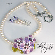 Artisan crafted lampwork and cultured pearl necklace with earrings