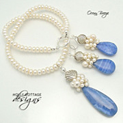 SALE Artisan crafted Cultured Pearl and Blue Lace Agate Set