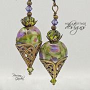 Artisan crafted lampwork and crystal earrings
