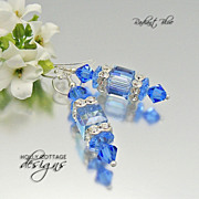 Artisan crafted Swarovski crystal earrings - Blue