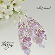 Artisan crafted Swarovski crystal earrings - Lavender