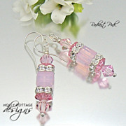 Artisan crafted Swarovski crystal earrings - Pink