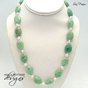 Artisan crafted green quartz and culture pearl necklace