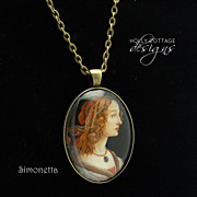 Artisan crafted pendant & chain - Botticelli portrait