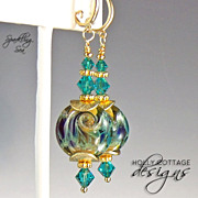Artisan crafted lampwork and Swarovski crystal earrings