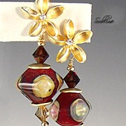 Artisan crafted pomegranate red and gold lampwork earrings