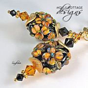 SOLD Artisan crafted lampwork and Swarovski crystal earrings