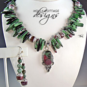 SOLD Ruby Zoisite pendant necklace with earrings