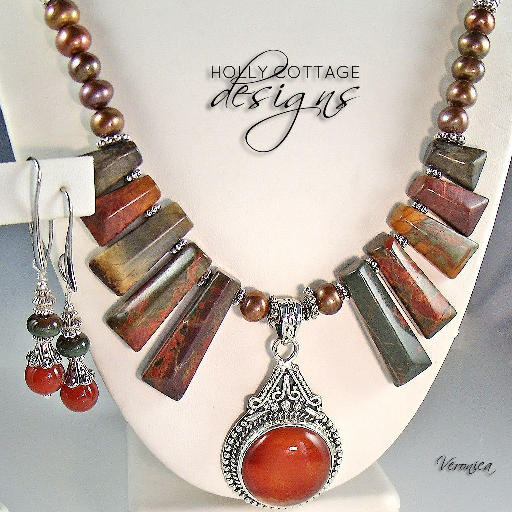 Carnelian and Jasper Necklace and Earring Set