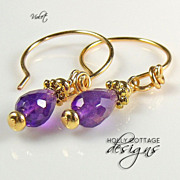 African amethyst teardrop earrings with gold plated hoops