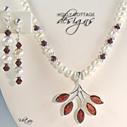 Artisan crafted garnet, cultured pearl and crystal necklace set