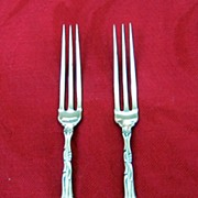 Antique Sterling Pair Strawberry Forks Old English Pattern Towle