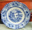 Antique Blue Transferware 10 Sided Plate Foliage