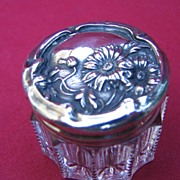 Vintage Small Vanity Jar Sterling Lid
