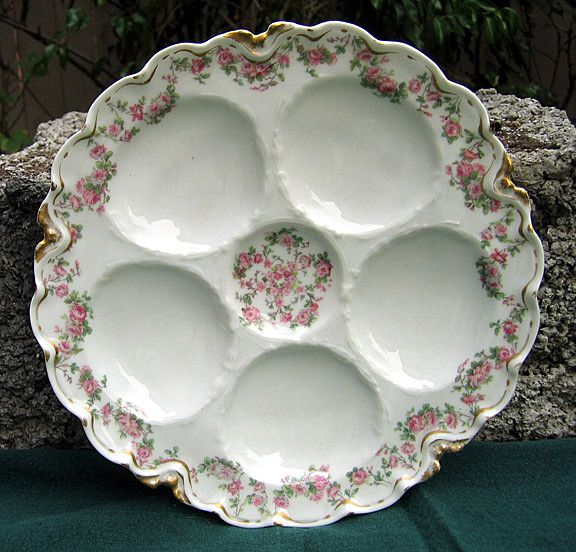 Antique Haviland Limoges Oyster Plate Schleiger 270 Rose Garlands