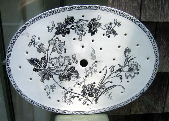 Antique Early Staffordshire Transferware Drainer Floral