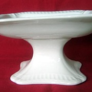 Antique White Ironstone Square Pedestal Compote
