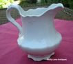 Antique White Ironstone Pitcher Charming Shape Embossed Design
