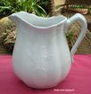 Antique White Ironstone Pitcher Wheat & Rose Shape
