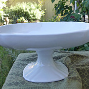Early English White Ironstone Pedestal Compote Ridged Shape