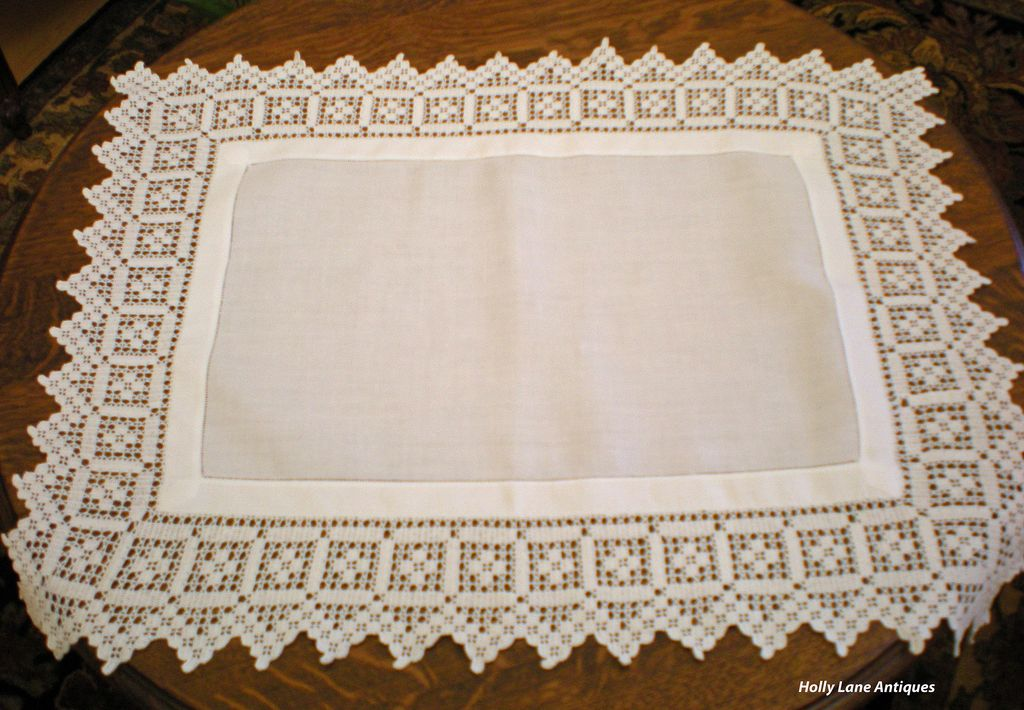 Vintage Irish Linen Tray Cloth - Wide Crochet Border