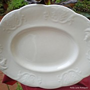 Early English White Ironstone Oval Cookie / Serving Plate