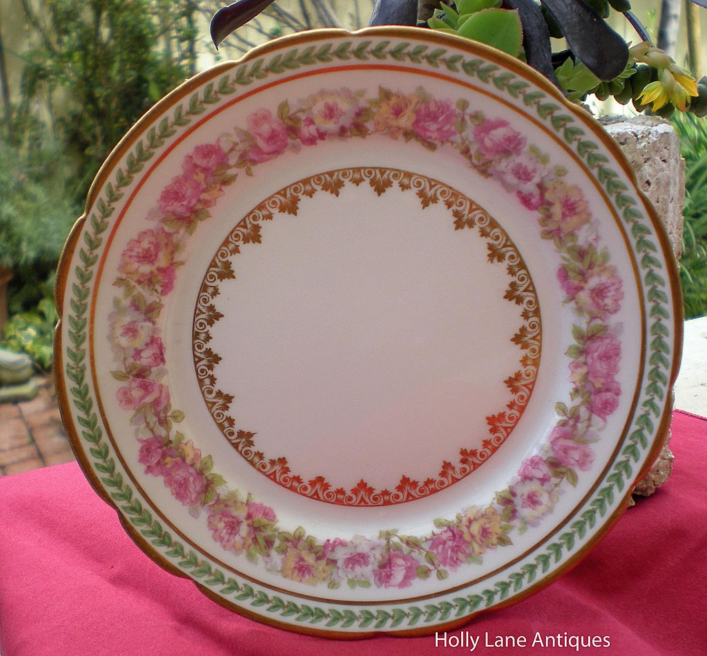 Antique Haviland Limoges Plate Roses & Gold