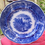 Antique Flow Blue Plate Nonpareil Burgess & Leigh