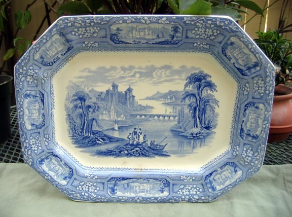 Antique Blue Transfer Ware Platter  Florentine
