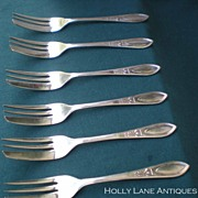 Set Of 6 Silver Plated Pastry Forks Sheffield England