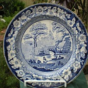 Early English Dark Blue Transfer Ware Plate Wild Rose