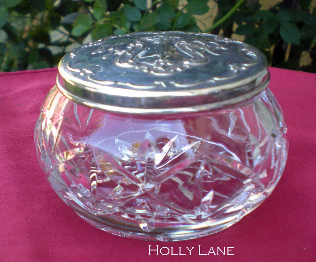 Gorham Chantilly Vanity Jar Crystal Base Silver Plated Lid