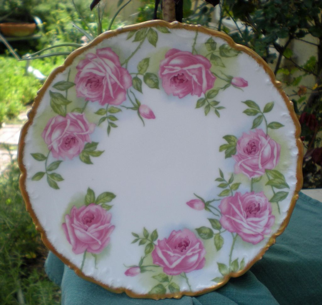 Antique Limoges Plate Large Roses Gold Trim