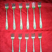 Antique Kirk Sterling Repousse Oyster Forks Set Of 11