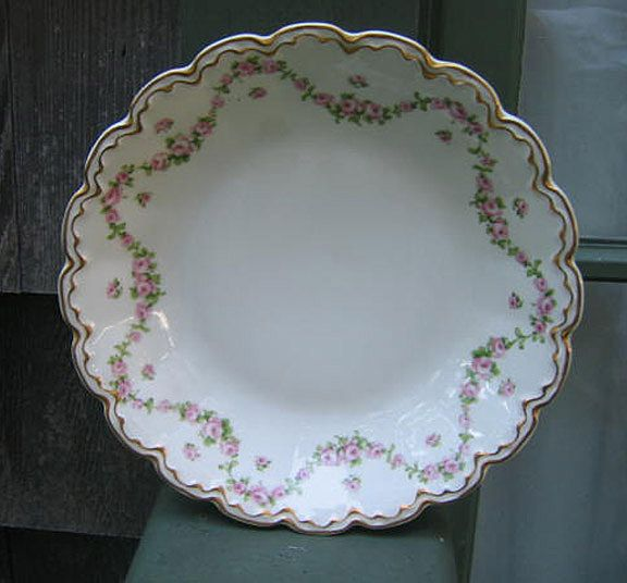 Antique Haviland Limoges Shallow Soup Bowl Schleiger 1114 Roses Gold
