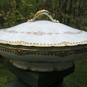 Antique Haviland Limoges Covered Tureen Schleiger 856 Pink Roses Gold