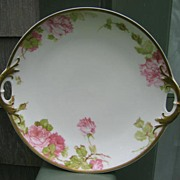 Antique Haviland Limoges Handled Cake Plate Roses Gold