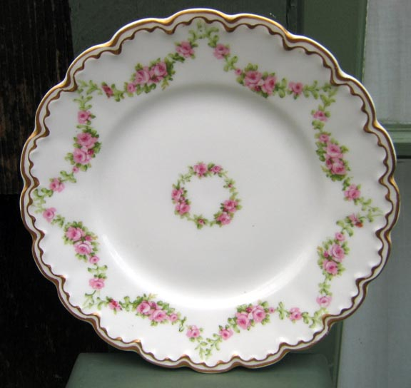 Antique Haviland Limoges Plate Schleiger 875 Roses