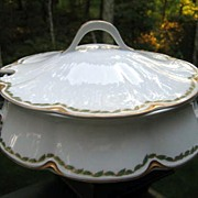 Antique Haviland Limoges Covered Tureen Green Gold