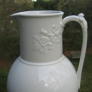 Antique 19th Century White Ironstone Ewer / Pitcher Britannia
