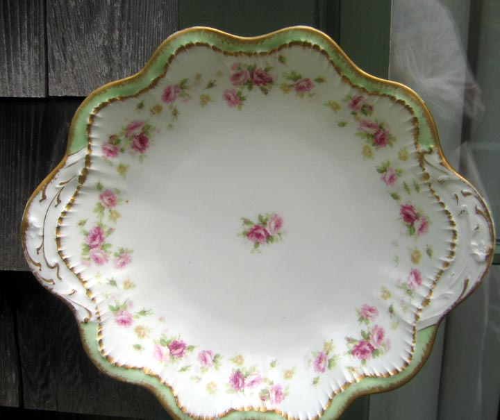 Antique Haviland Limoges Handled Shallow Bowl Roses Green Border Gold