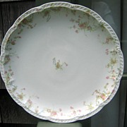 Antique Haviland Limoges Round Platter Schleiger 57 Princess Pink Roses Blue Scrolls