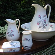 Antique Haviland Limoges Chamber Set 7 Pieces Moss Rose Pattern