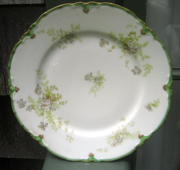 Antique Haviland Limoges Plate Schleiger 52 Lavender & Green