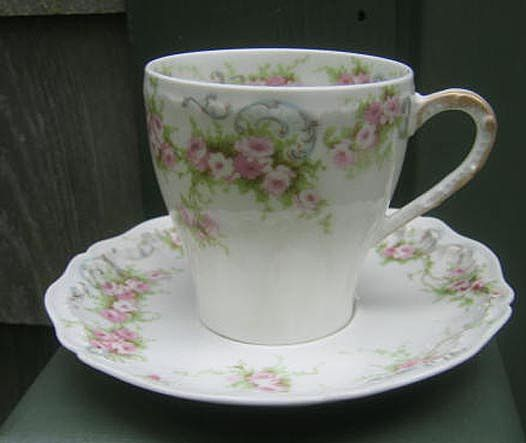 Antique Haviland Limoges Demi Cup & Saucer  Schleiger 340 Roses & Ribbons