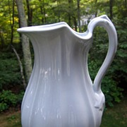 Antique English White Ironstone Pitcher Ewer Kansas Shape